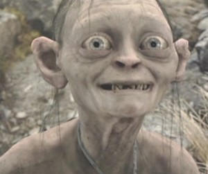 A picture of Gollum from the recent Lord of the Rings films