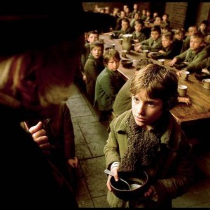 A picture of Oliver Twist asking for more