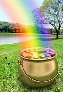 A pot of gold at the end of a rainbow