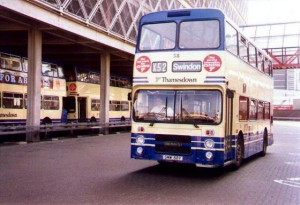 A bus heading for Swindon