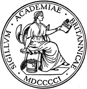 The British Academy logo, featuring the Greek Muse Clio, according to wikipedia...